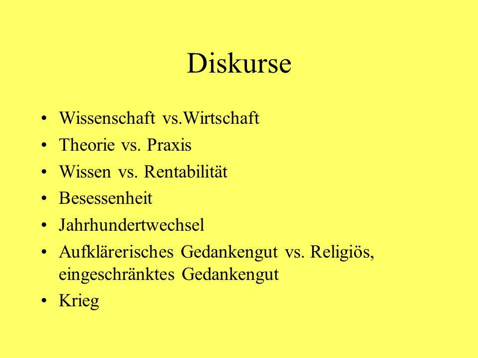 Diskurse Wissenschaft vs.Wirtschaft Theorie vs. Praxis