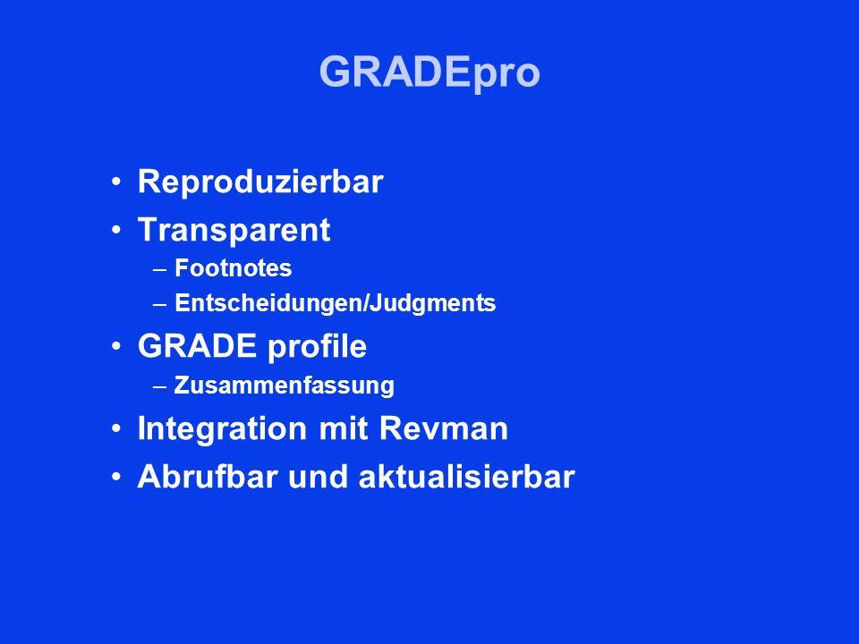 GRADEpro Reproduzierbar Transparent GRADE profile