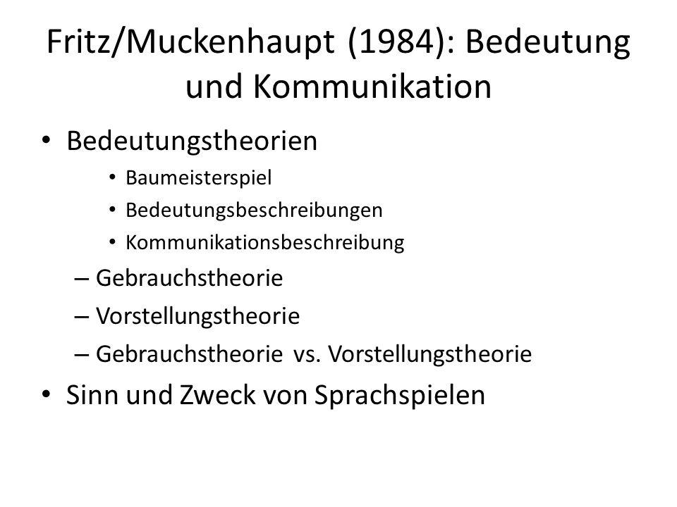 Fritz/Muckenhaupt (1984): Bedeutung und Kommunikation