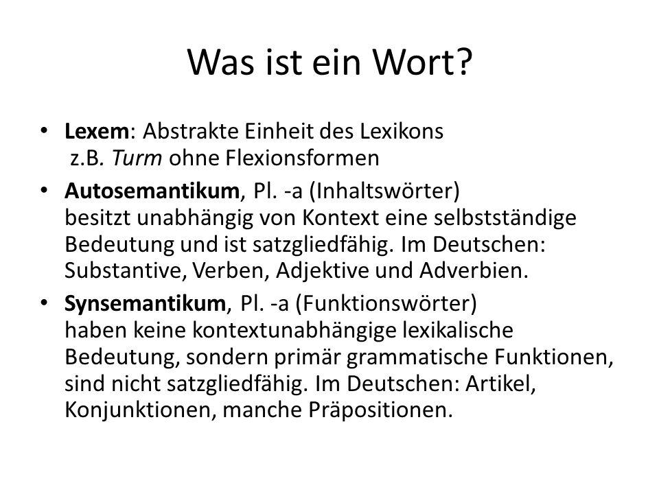 Was ist ein Wort Lexem: Abstrakte Einheit des Lexikons z.B. Turm ohne Flexionsformen.