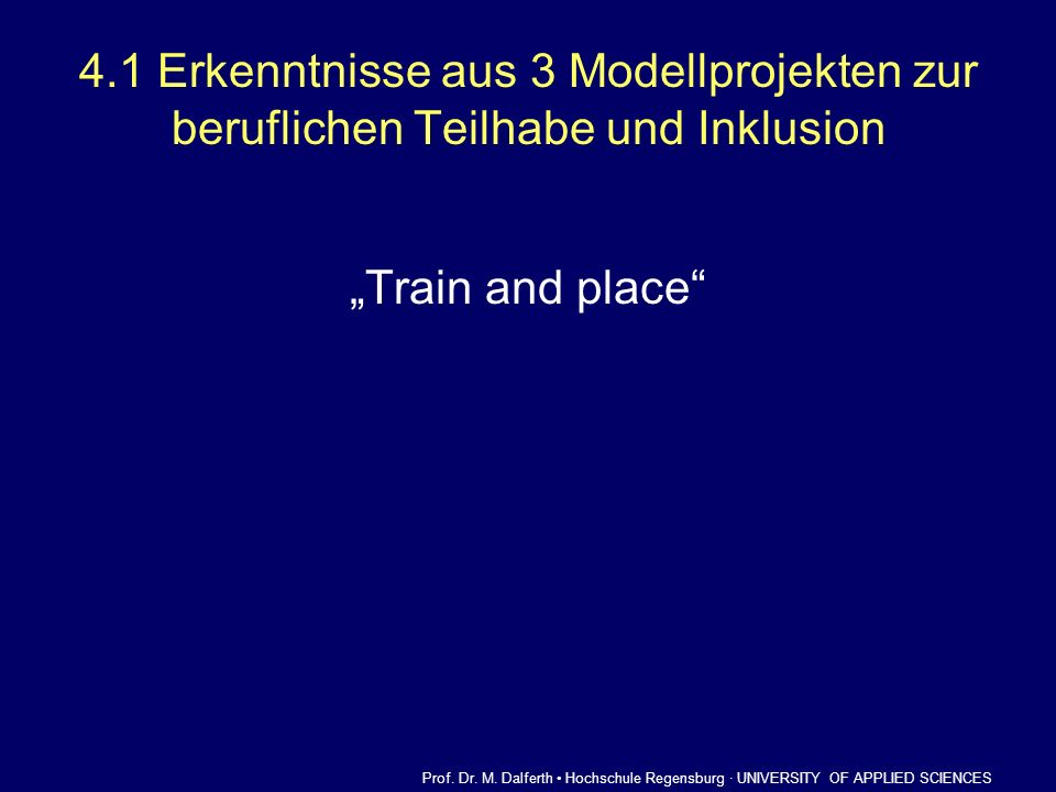 4.1 Erkenntnisse aus 3 Modellprojekten zur beruflichen Teilhabe und Inklusion