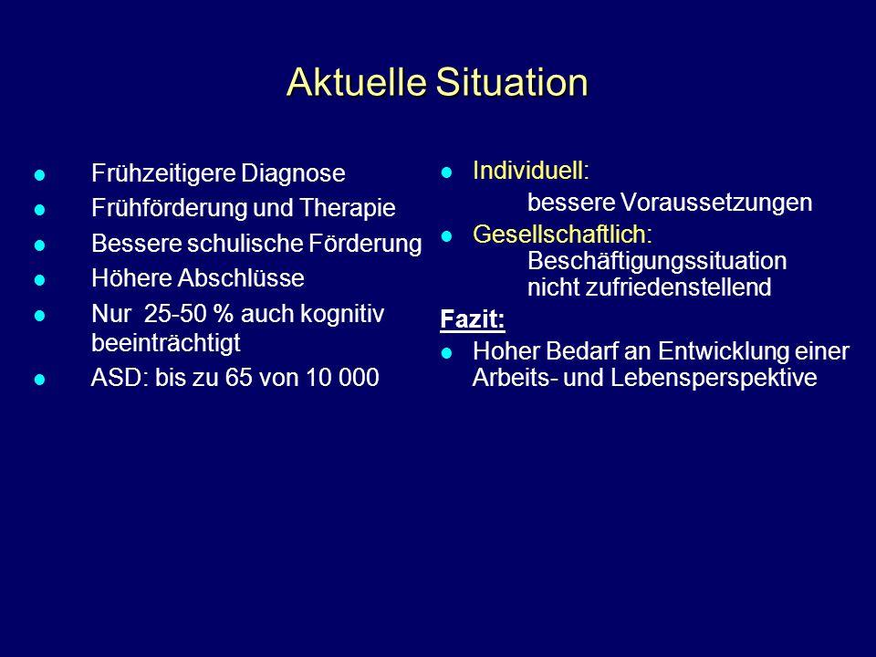 Aktuelle Situation Frühzeitigere Diagnose Frühförderung und Therapie