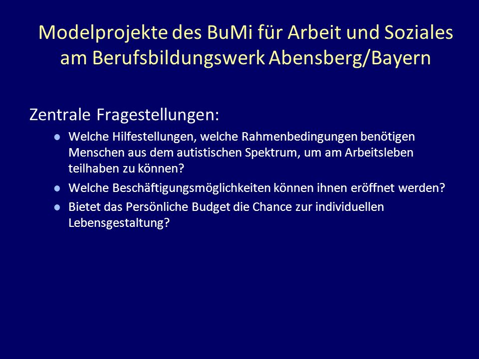 Modelprojekte des BuMi für Arbeit und Soziales am Berufsbildungswerk Abensberg/Bayern