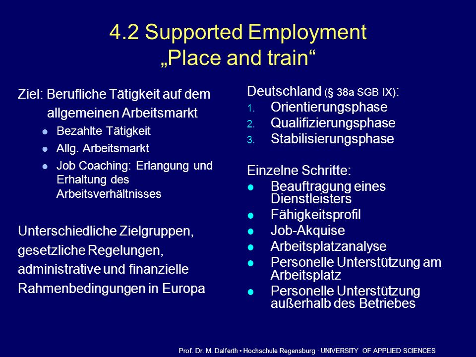 "4.2 Supported Employment ""Place and train"