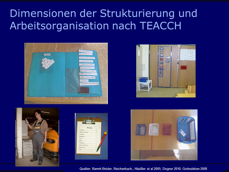 Dimensionen der Strukturierung und Arbeitsorganisation nach TEACCH