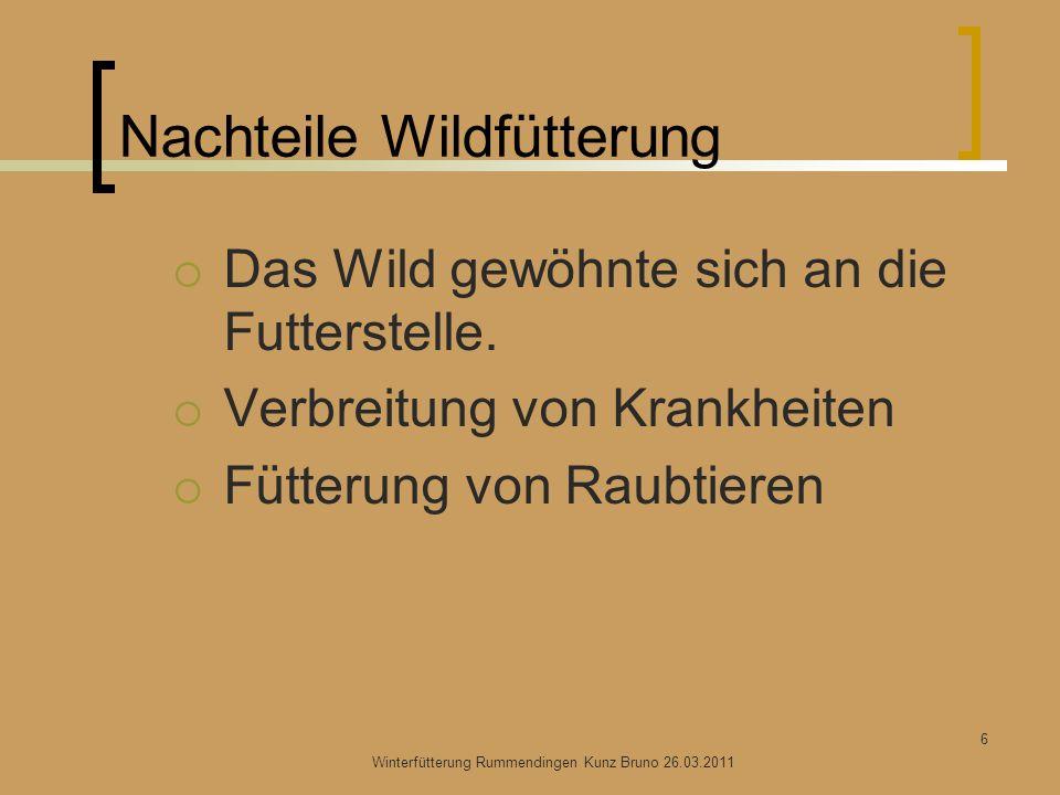 Nachteile Wildfütterung