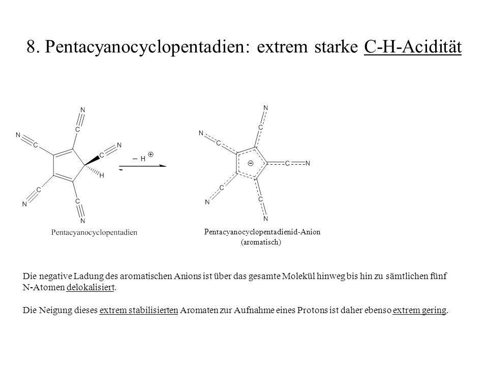 8. Pentacyanocyclopentadien: extrem starke C-H-Acidität