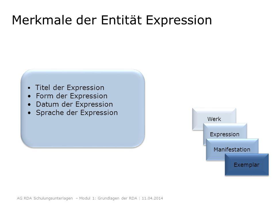 Merkmale der Entität Expression