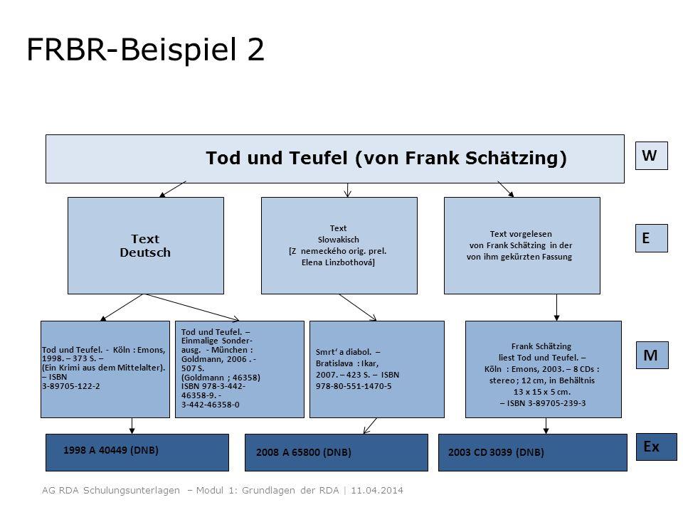 FRBR-Beispiel 2 Tod und Teufel (von Frank Schätzing) W E M Ex Text