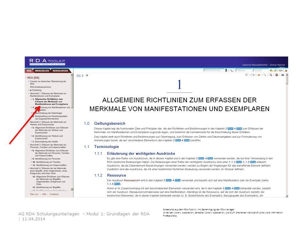 AG RDA Schulungsunterlagen – Modul 1: Grundlagen der RDA | 11.04.2014