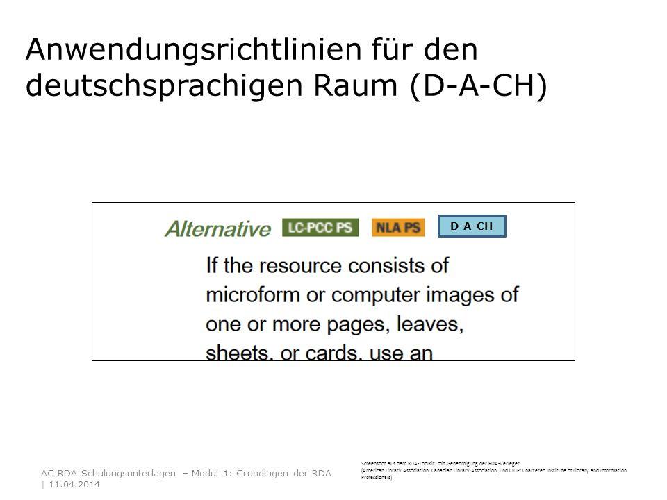 Anwendungsrichtlinien für den deutschsprachigen Raum (D-A-CH)