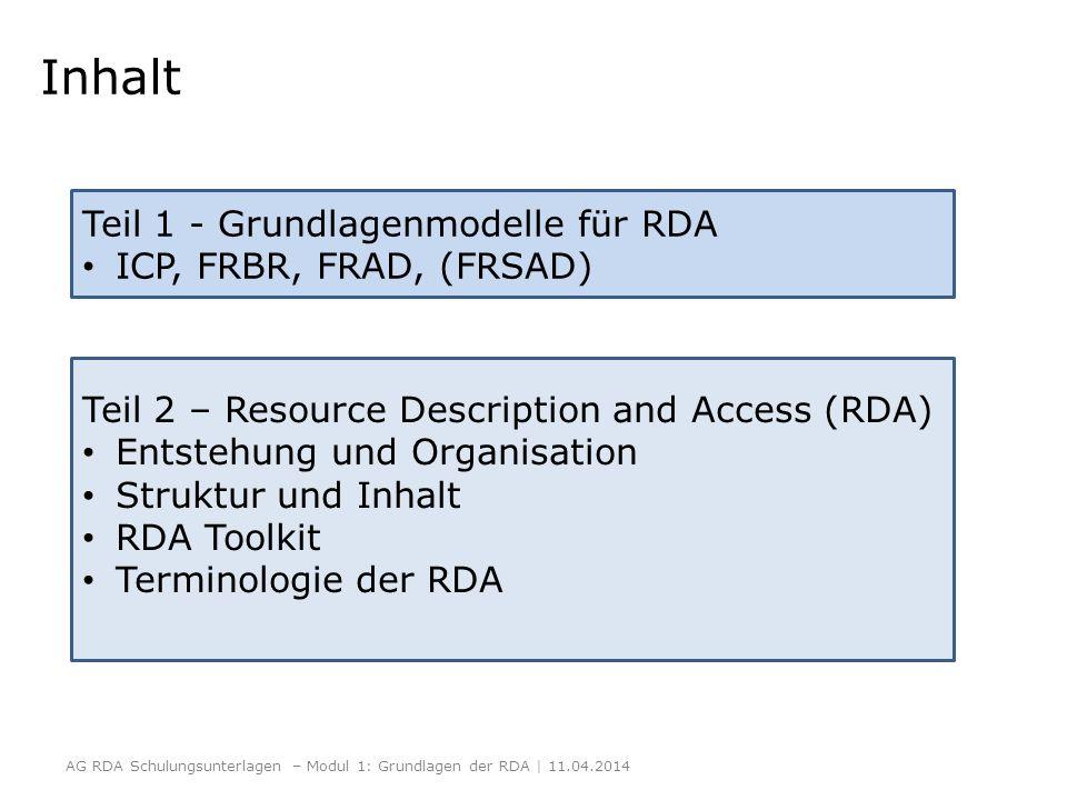 Inhalt Teil 1 - Grundlagenmodelle für RDA ICP, FRBR, FRAD, (FRSAD)