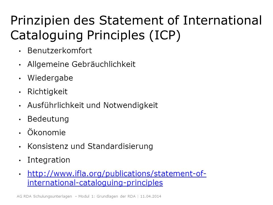 Prinzipien des Statement of International Cataloguing Principles (ICP)