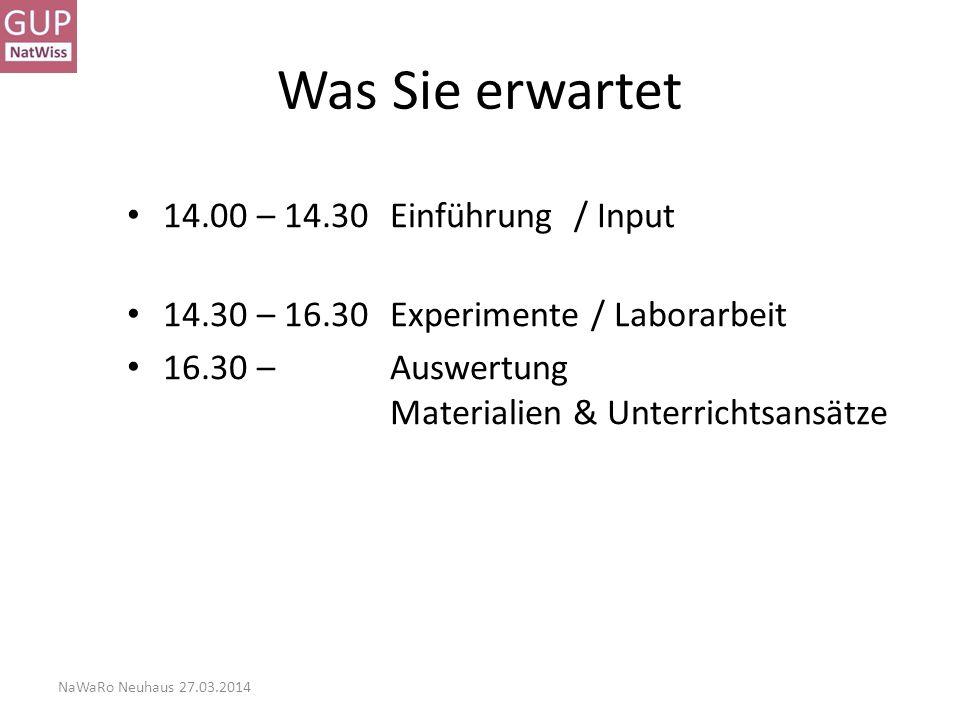Was Sie erwartet 14.00 – 14.30 Einführung / Input
