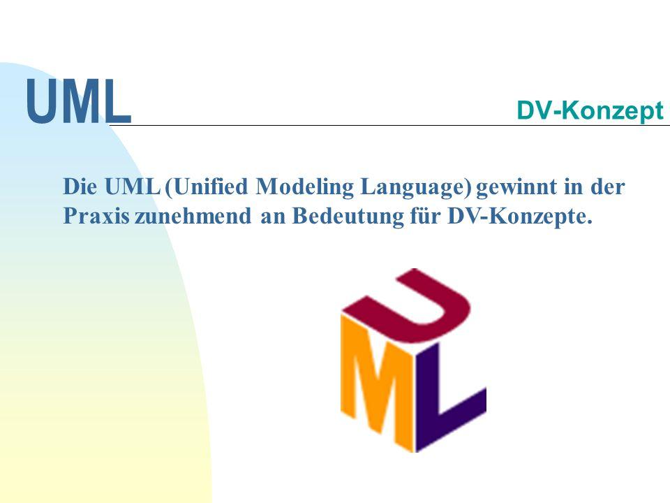 UML 30.09.1998. DV-Konzept. Die UML (Unified Modeling Language) gewinnt in der Praxis zunehmend an Bedeutung für DV-Konzepte.