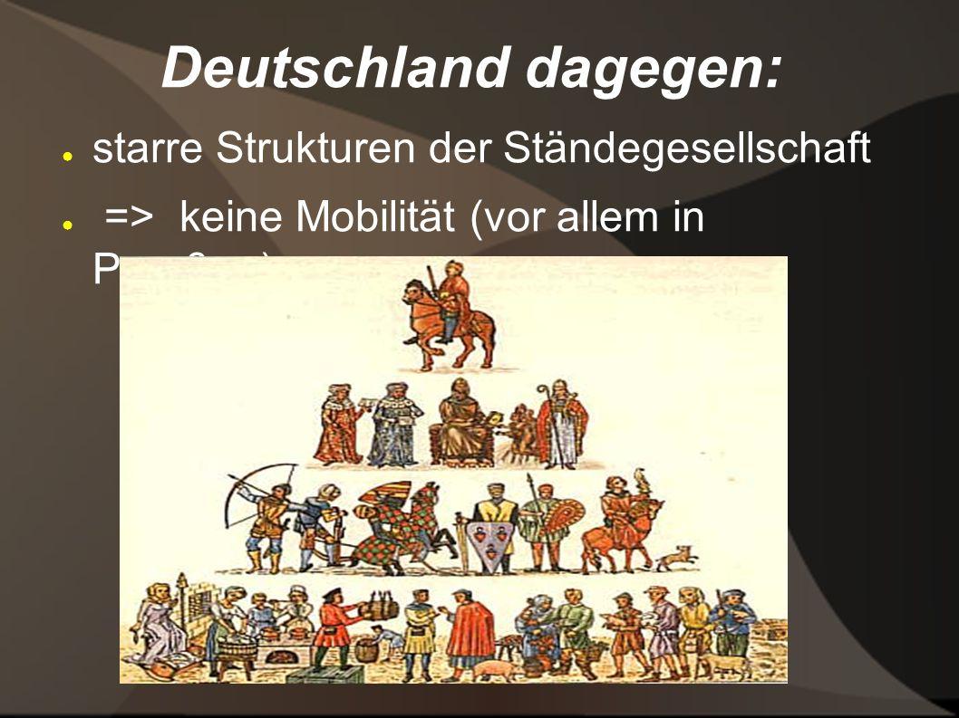 Deutschland dagegen: starre Strukturen der Ständegesellschaft
