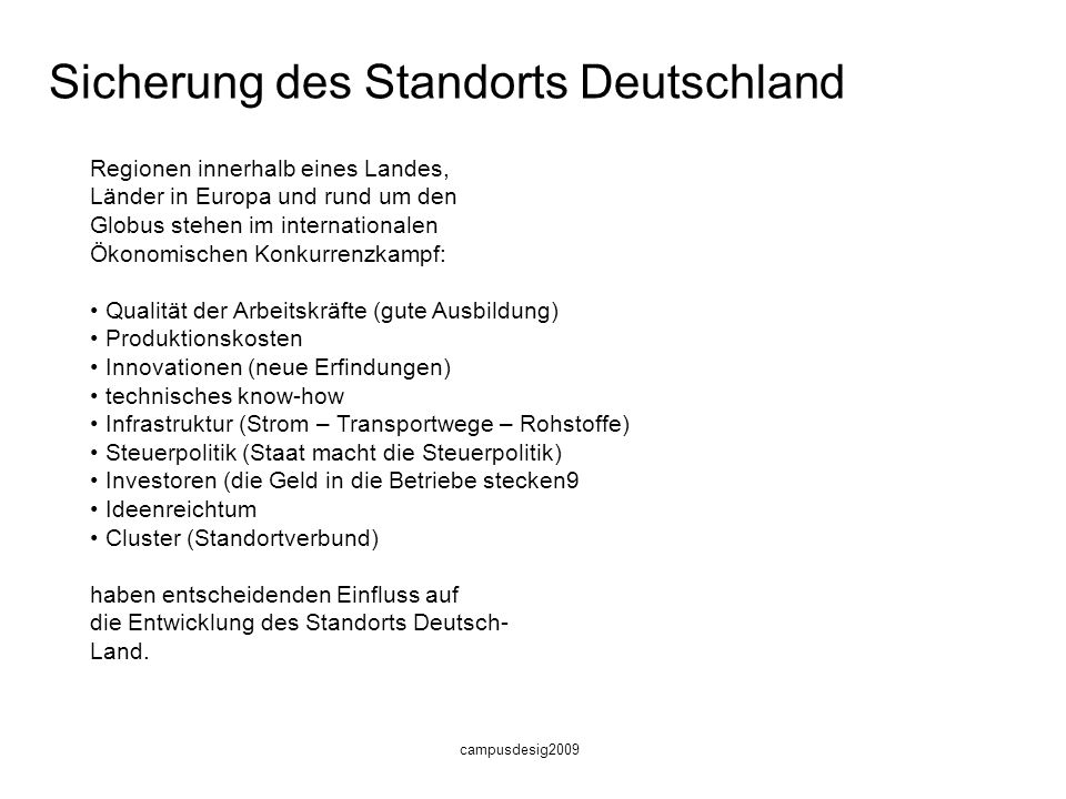 Sicherung des Standorts Deutschland