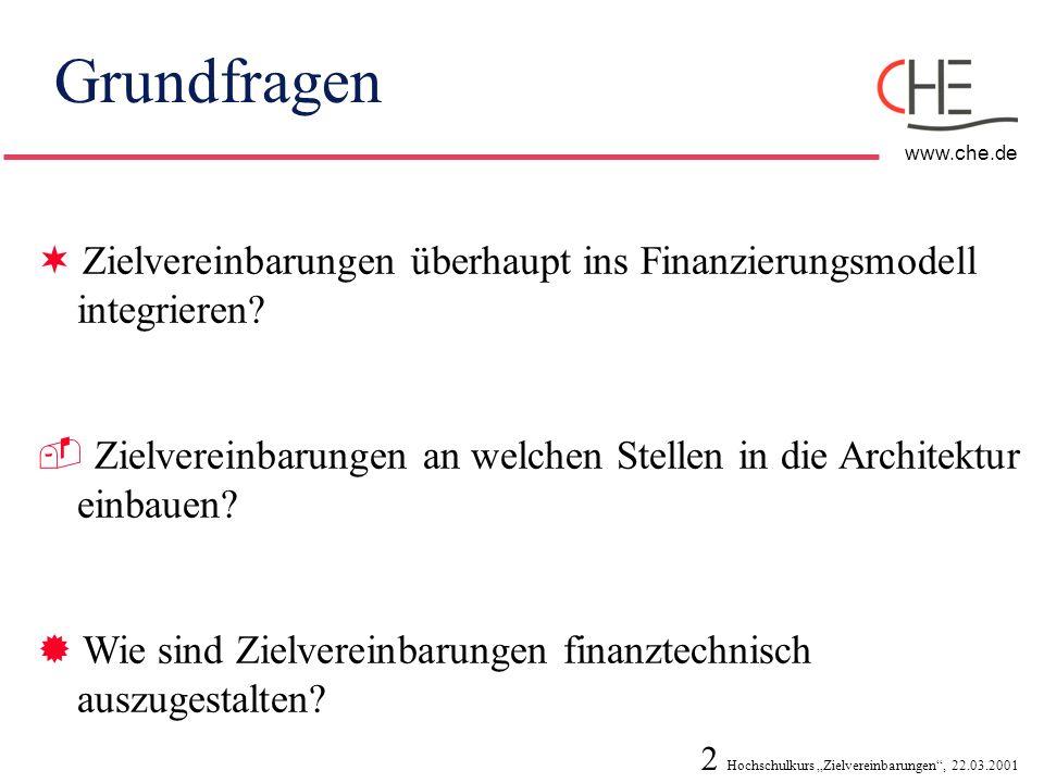 Grundfragen Zielvereinbarungen überhaupt ins Finanzierungsmodell integrieren