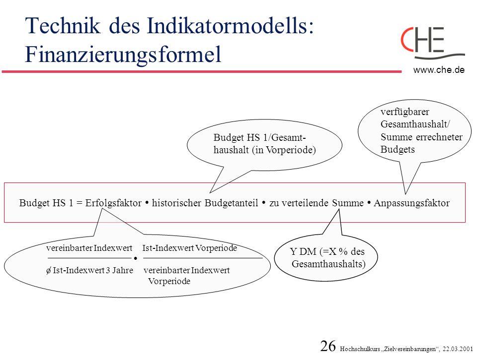 Technik des Indikatormodells: Finanzierungsformel