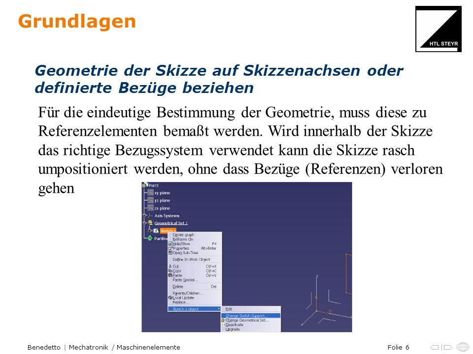 Grundlagen Geometrie der Skizze auf Skizzenachsen oder. definierte Bezüge beziehen.