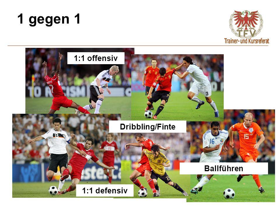 1 gegen 1 1:1 offensiv Dribbling/Finte Ballführen 1:1 defensiv