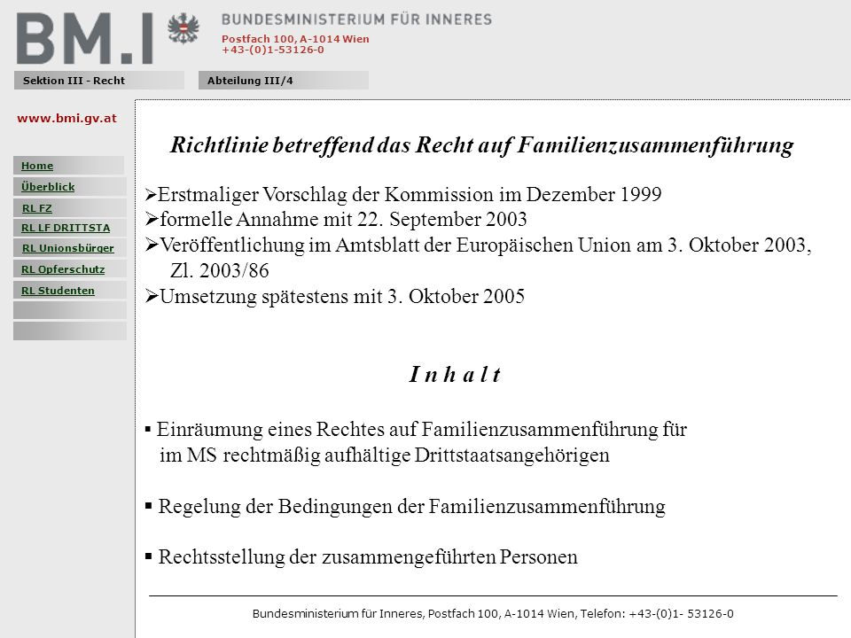 Richtlinie betreffend das Recht auf Familienzusammenführung