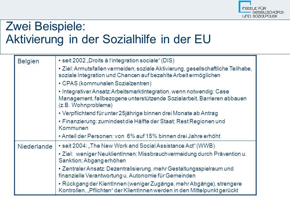Zwei Beispiele: Aktivierung in der Sozialhilfe in der EU