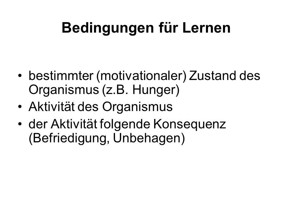 Bedingungen für Lernen
