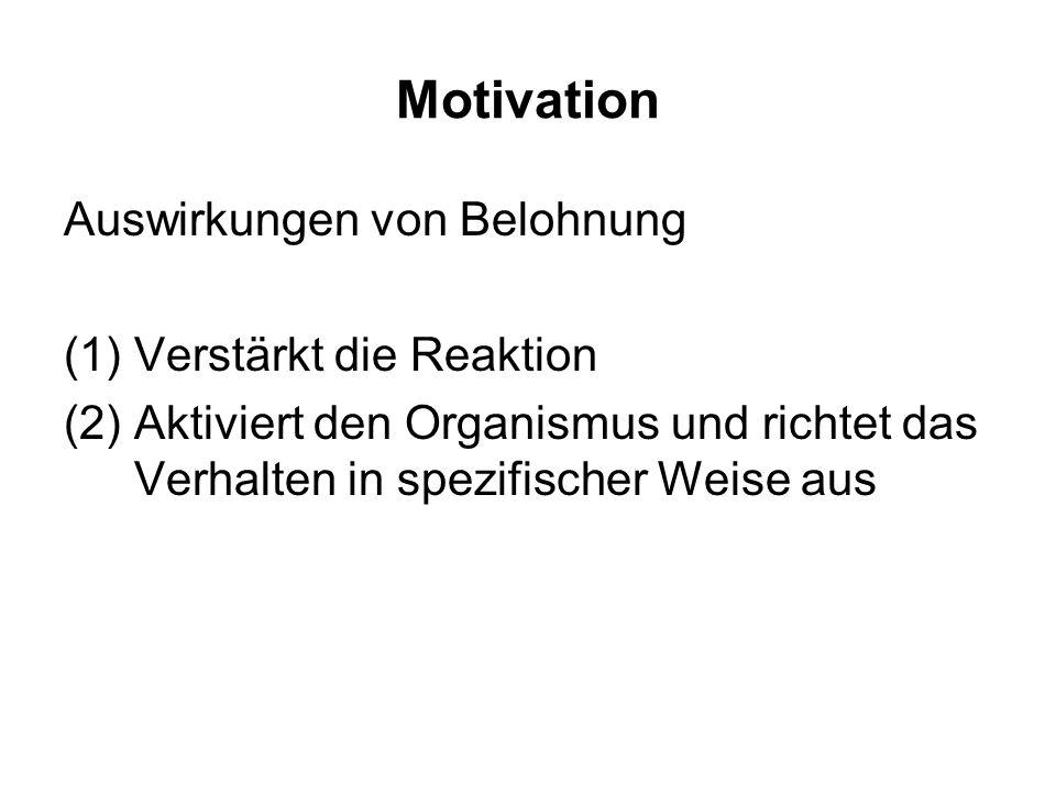 Motivation Auswirkungen von Belohnung Verstärkt die Reaktion