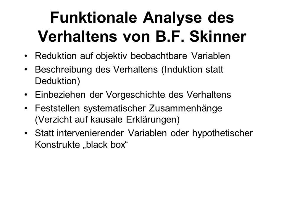Funktionale Analyse des Verhaltens von B.F. Skinner