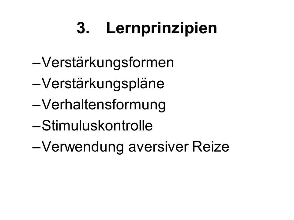 3. Lernprinzipien Verstärkungsformen Verstärkungspläne