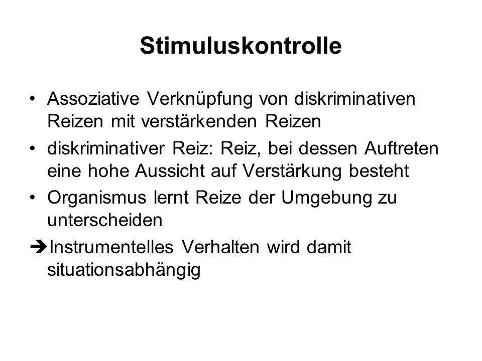 Stimuluskontrolle Assoziative Verknüpfung von diskriminativen Reizen mit verstärkenden Reizen.