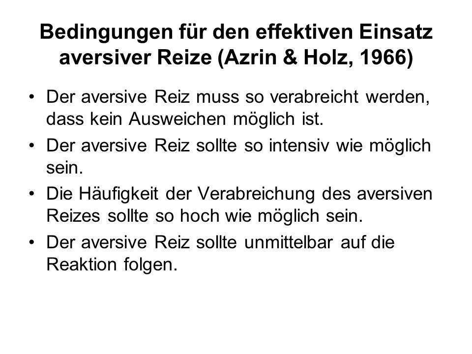 Bedingungen für den effektiven Einsatz aversiver Reize (Azrin & Holz, 1966)