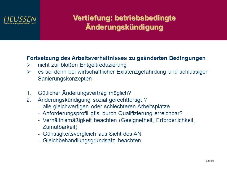 Vertiefung: betriebsbedingte Änderungskündigung