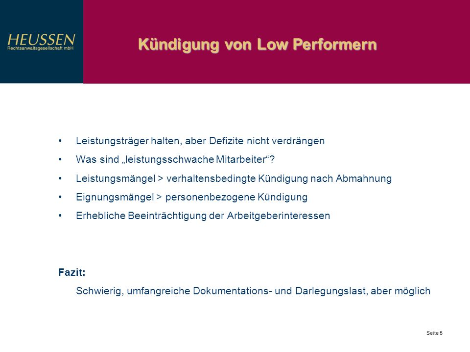 Kündigung von Low Performern