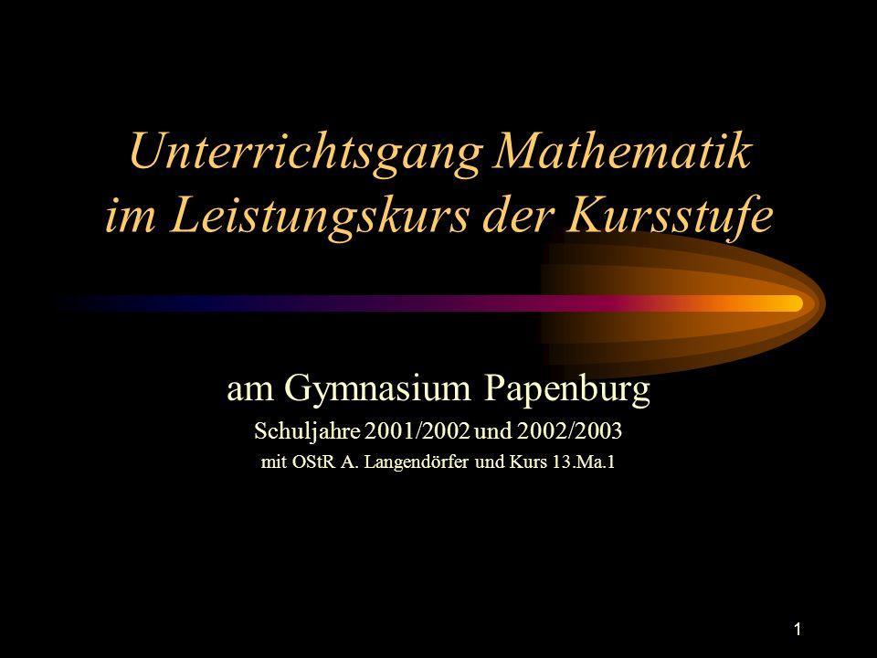 Unterrichtsgang Mathematik im Leistungskurs der Kursstufe