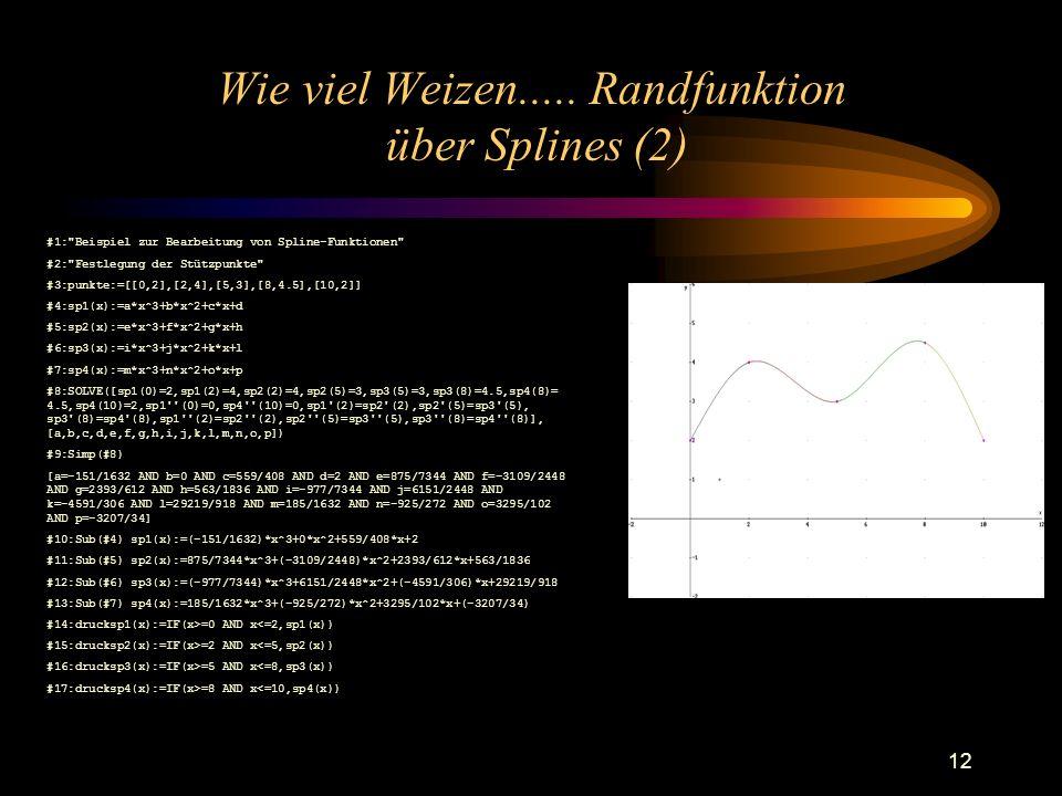Wie viel Weizen..... Randfunktion über Splines (2)