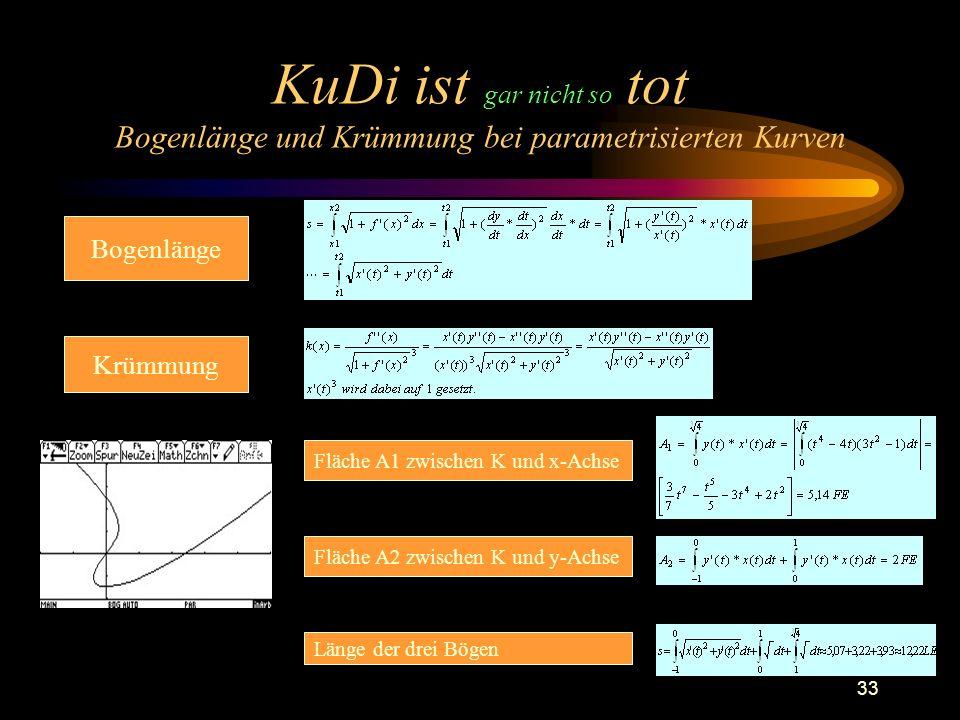 KuDi ist gar nicht so tot Bogenlänge und Krümmung bei parametrisierten Kurven