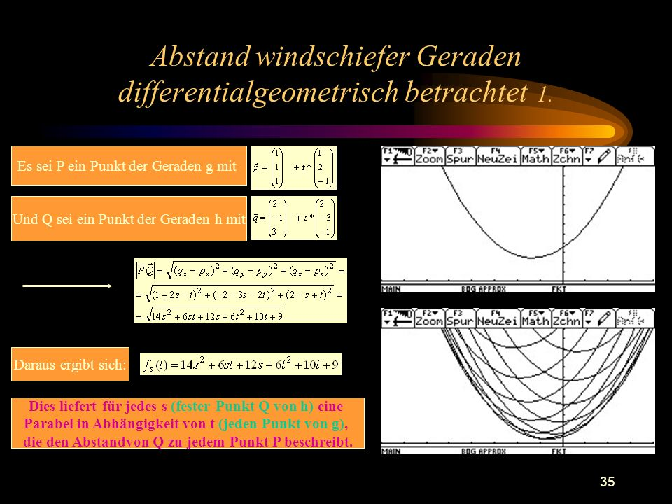 Abstand windschiefer Geraden differentialgeometrisch betrachtet 1.