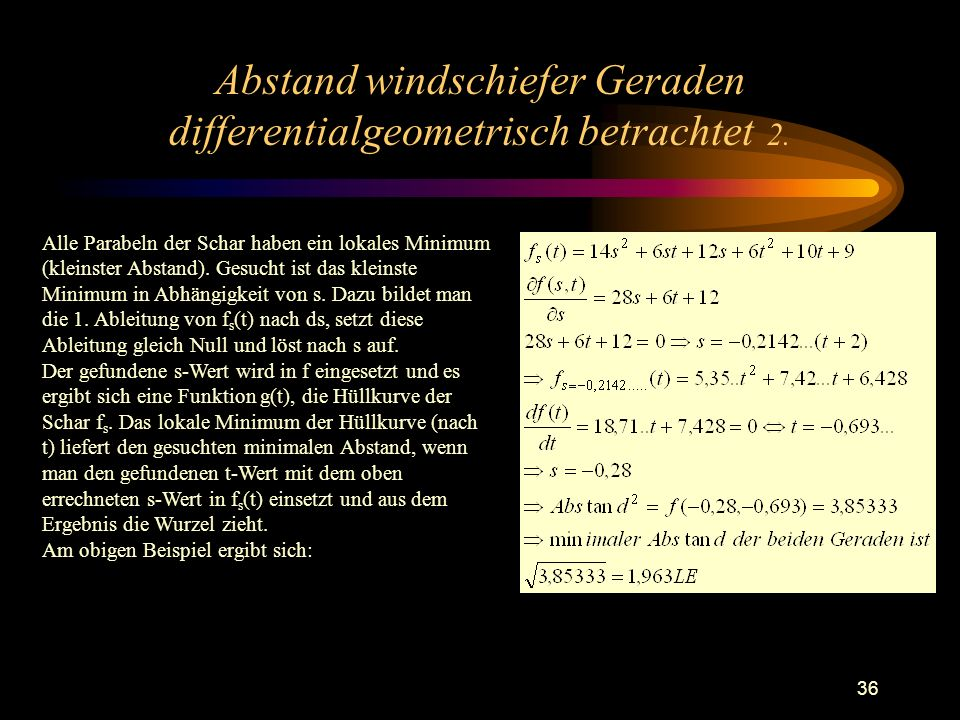 Abstand windschiefer Geraden differentialgeometrisch betrachtet 2.