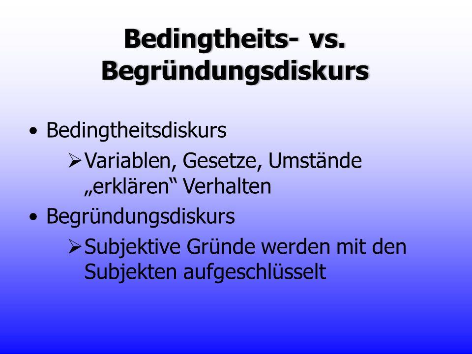 Bedingtheits- vs. Begründungsdiskurs