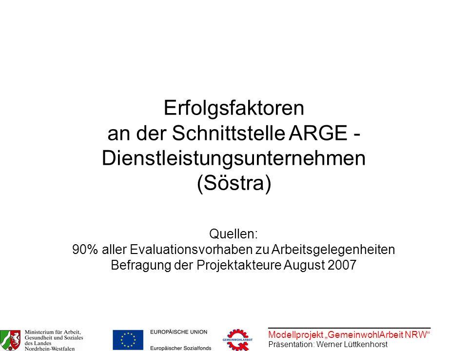 Erfolgsfaktoren an der Schnittstelle ARGE - Dienstleistungsunternehmen (Söstra)