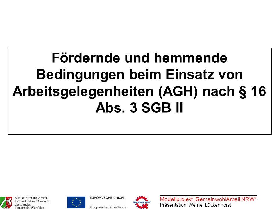 Fördernde und hemmende Bedingungen beim Einsatz von Arbeitsgelegenheiten (AGH) nach § 16 Abs. 3 SGB II