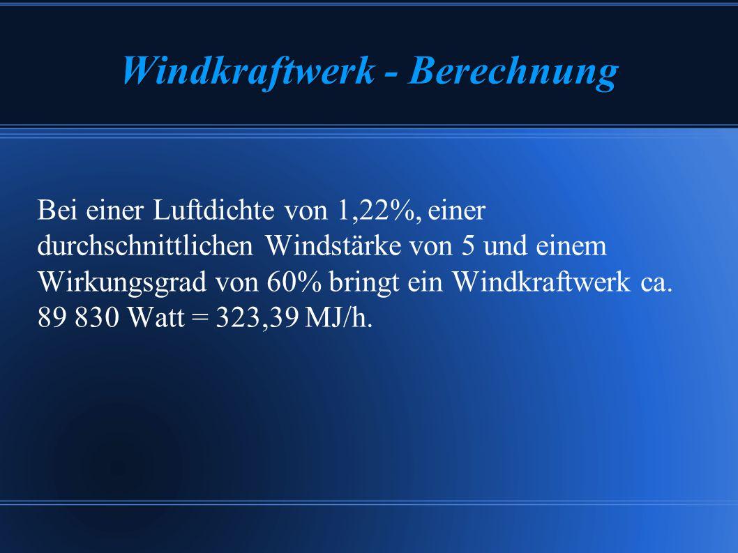 Windkraftwerk - Berechnung