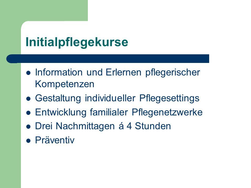 Initialpflegekurse Information und Erlernen pflegerischer Kompetenzen