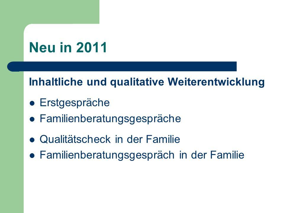 Neu in 2011 Inhaltliche und qualitative Weiterentwicklung