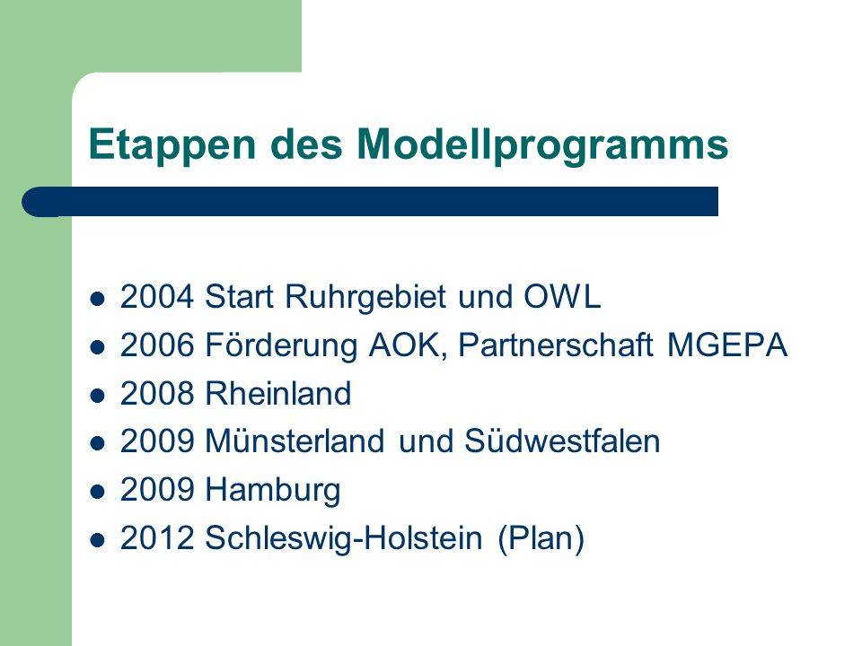 Etappen des Modellprogramms