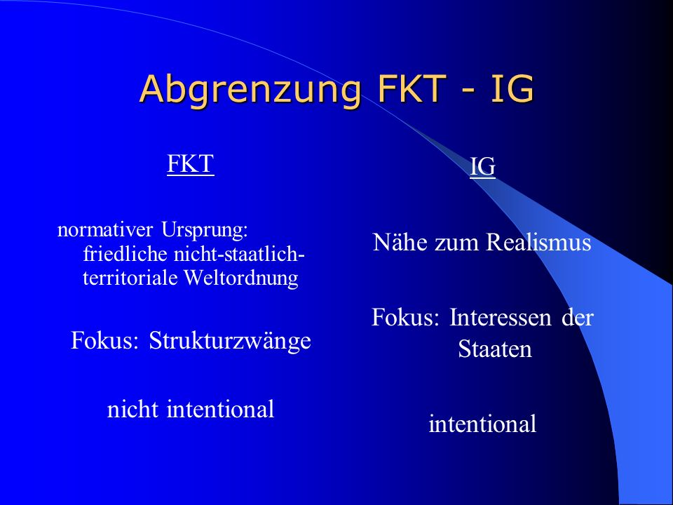 Abgrenzung FKT - IG FKT Fokus: Strukturzwänge nicht intentional IG