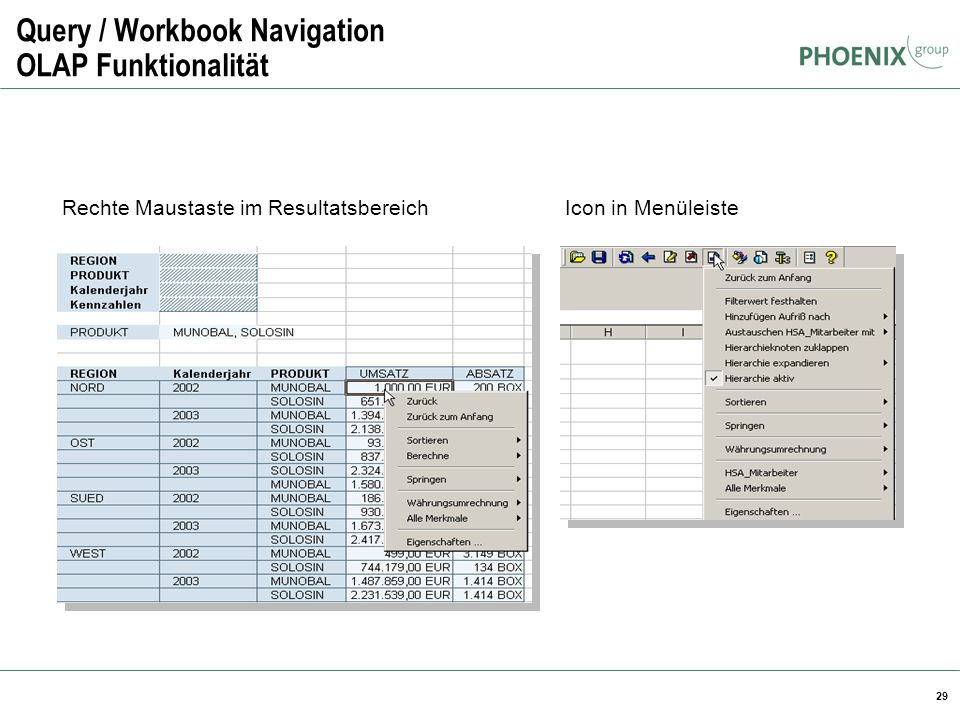 Query / Workbook Navigation OLAP Funktionalität