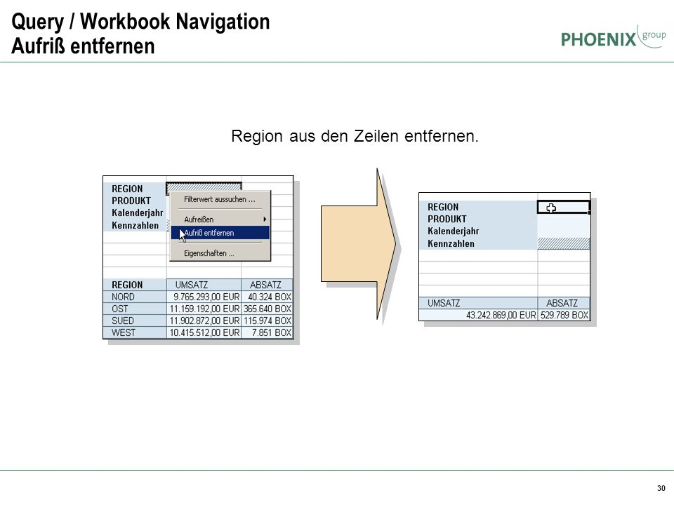 Query / Workbook Navigation Aufriß entfernen